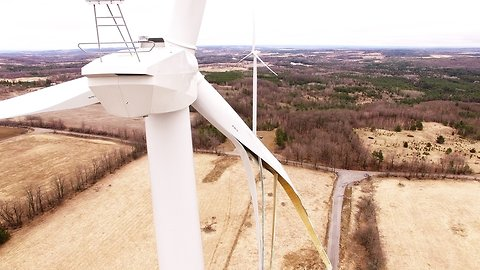 Sickening crash footage of drone's final flight into exploded wind turbine