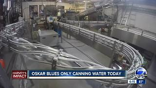 Oskar Blues Brewery halting beer production to can water for Houston - Video