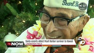 Santa takes the oldest living Pearl Harbor survivor to Hawaii - Video