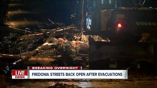 Flood water causes evacuations in Fredonia - Video