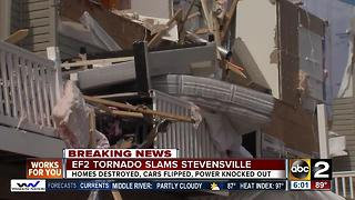 Tornado destroys homes, flips cars in Stevensville - Video