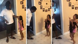 Little Girl Sees Dad For The First Time Without Dreadlocks - Video