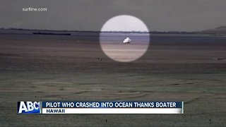 Navy pilot thanks boater for helping him after crash - Video