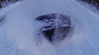 Epic Honda snow drifting filmed with drone - Video