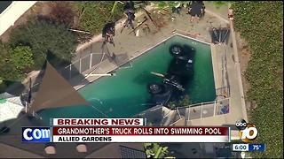 Grandmother's car rolls into Allied Gardens pool - Video