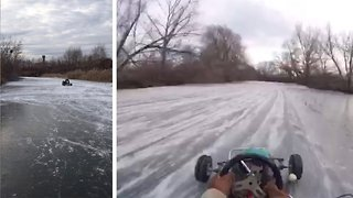 On thin ice! Epic go karting video on frozen lake