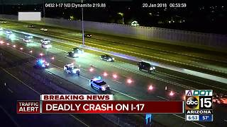 One killed after motorcycle collision on I-17 near Jomax - Video