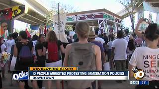 10 arrested at immigration policy protest