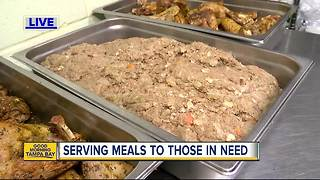 Volunteers from Metropolitan Ministries work to serve meals for those in need - Video