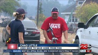 Man says he put fire out with Bud Light
