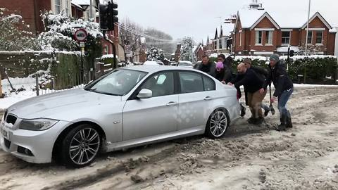 BMW driver stuck in snow in St Albans