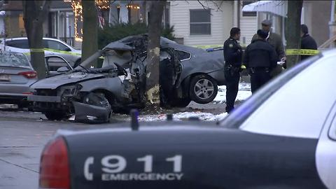 Driver dies after fleeing police, crashing car into tree on Milwaukee's northwest side