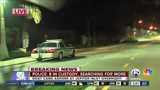 8 in custody after boat comes ashore in Jupiter overnight - Video