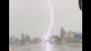 Lightning Strikes Power Pole During Butte County Storm