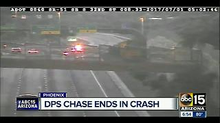 DPS searching for suspect after car crashes in pursuit on SR-51 - Video