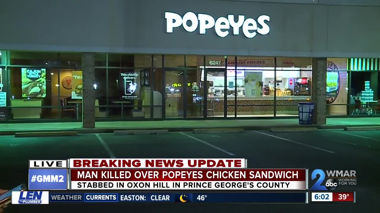 Man stabbed to death at Oxon Hill Popeyes over chicken sandwich