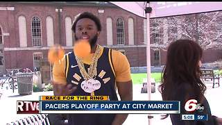 Pacers fans party in downtown Indianapolis