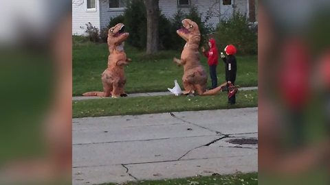 T-Rex Fights T-Rex Over Candy