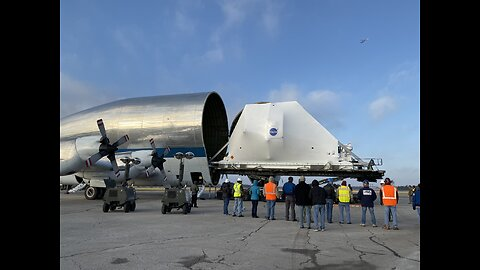 The Orion spacecraft makes its way to Plum Brook Station in Sandusky