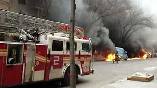 Several Cars Catch Fire in Manhattan - Video