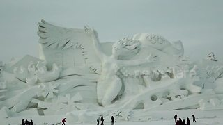 China Baffled The World With Dazzling Snow Sculptures Displayed At World's Largest Winter Fair  - Video