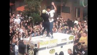 Saints Fans Dance on Top of Power Generator at Super Bowl Boycott
