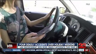 Four deadly accidents over holiday weekend