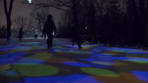 This Rainbow-lit Ice Skating Trail Is True Winter Magic
