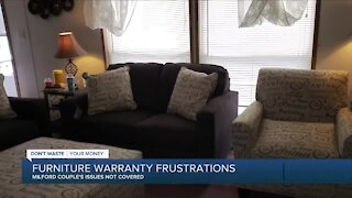 Milford couple frustrated over furniture warranty issues