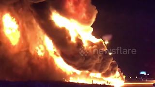 Huge blaze as tanker truck catches fire in Utah - Video