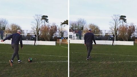 Football enthusiast shows off impressive ball tricks by kicking ball into top bin target