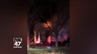 Large house fire causes Eaton County road to close Thursday night - Video