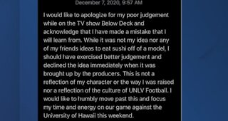 UNLV Football QB apologies after appearance on TV show