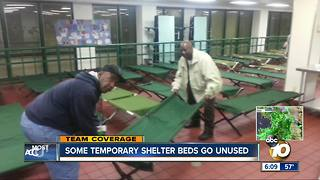 Some temporary homeless shelter beds go unused in San Diego - Video