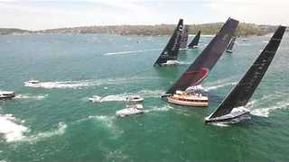 Drone Shows Moment Racing Yacht Nearly Collides With Patrol Boat - Video