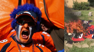 Broncos Fan Burns ALL His Gear In Response to Players Kneeling During National Anthem - Video