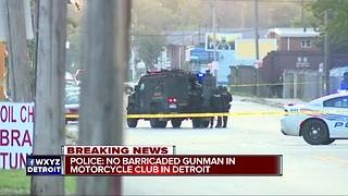 Police: No barricaded gunman at Detroit motorcycle club - Video