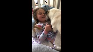 Little girl wakes up to playtime with her doggy