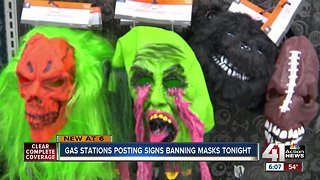 Gas stations post signs banning masks on Halloween - Video