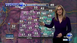Warm Sunday afternoon, then snow for Denver
