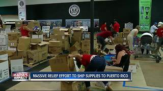 Massive relief effort underway in Tampa to ship supplies to Puerto Rico - Video