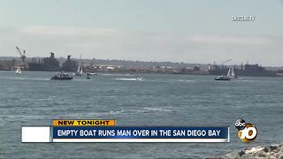 Empty boat runs man over in the San Diego Bay - Video