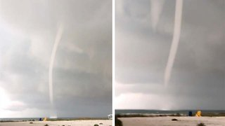 Diners Stunned As Massive Waterspout Flies Across Surface Of Sea