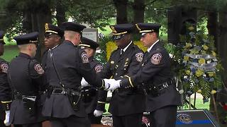 Flag folding ceremony at IMPD Deputy Chief James Waters' funeral
