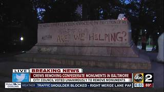 Crews remove Confederate monuments in Baltimore overnight - Video
