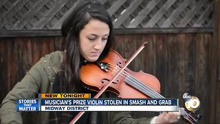 Musician's prize violin stolen in smash and grab - Video