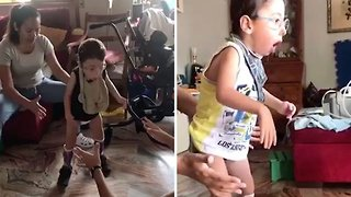 Heartwarming Footage Captures Moment Boy Learns To Walk After 'dying' At Eight Days Old