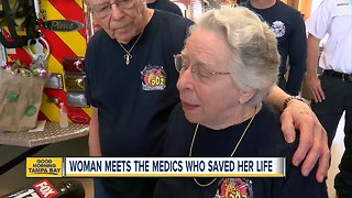 Woman meets medics who saved her after heart attack