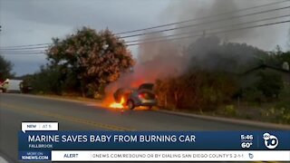 Camp Pendleton Marine helps save trapped baby from burning car