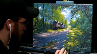 Acrylic Landscape Painting with Old Train Car - Time Lapse - Artist Timothy Stanford